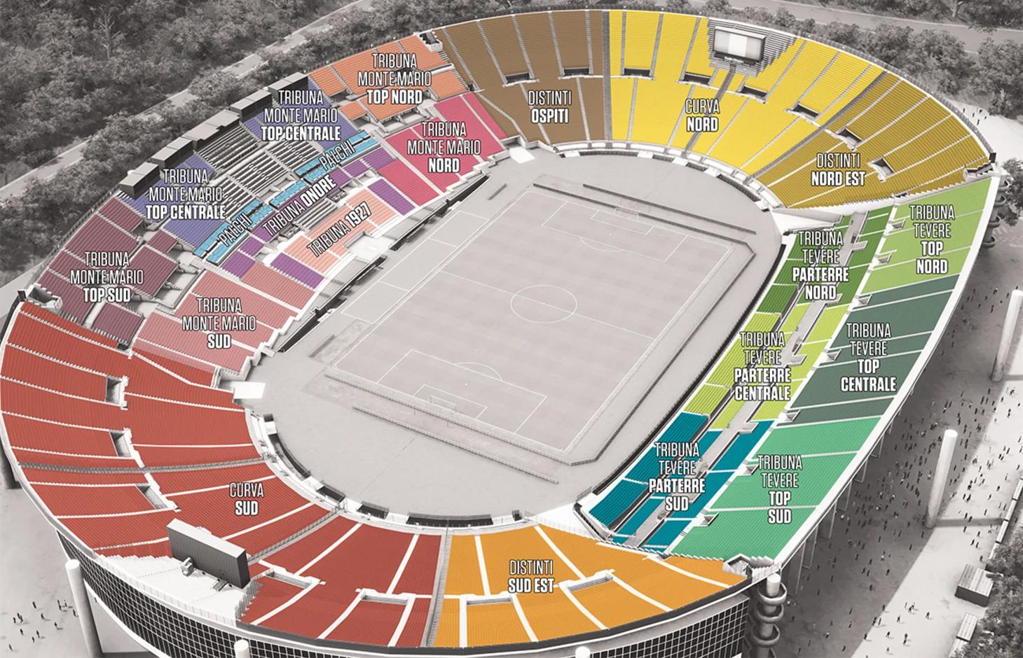 mappa stadio olimpico